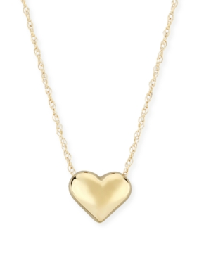 Puffed Heart Necklace Set in 14k Yellow Gold