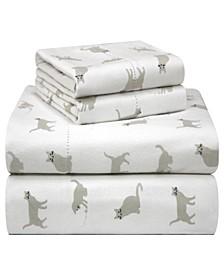 Printed Flannel Twin XL Sheet Set