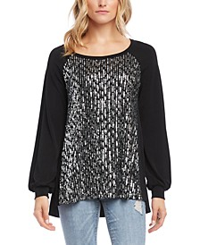 Sequin Blouson-Sleeve Top
