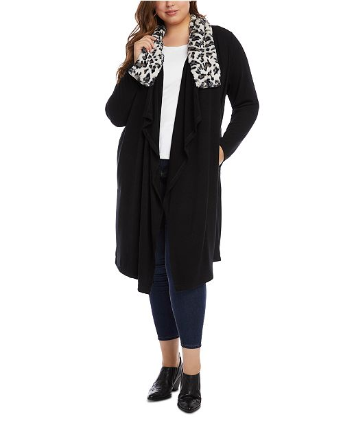 Karen Kane Plus Faux-Fur-Collar Open-Front Cardigan