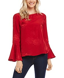 Jacquard Bell-Sleeve Blouse