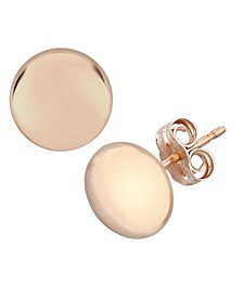 Flat Ball Stud Earrings Set in 14k Rose Gold (5mm)