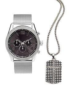 INC Men's Chronograph Silver-Tone Mesh Bracelet Watch 47mm & Pendant Necklace Set, Created For Macy's