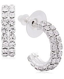 Link Up Double Row Diamante Hoop Earrings, 20mm