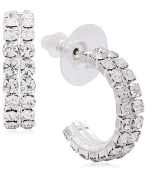 Double Row Diamante Hoop Earrings