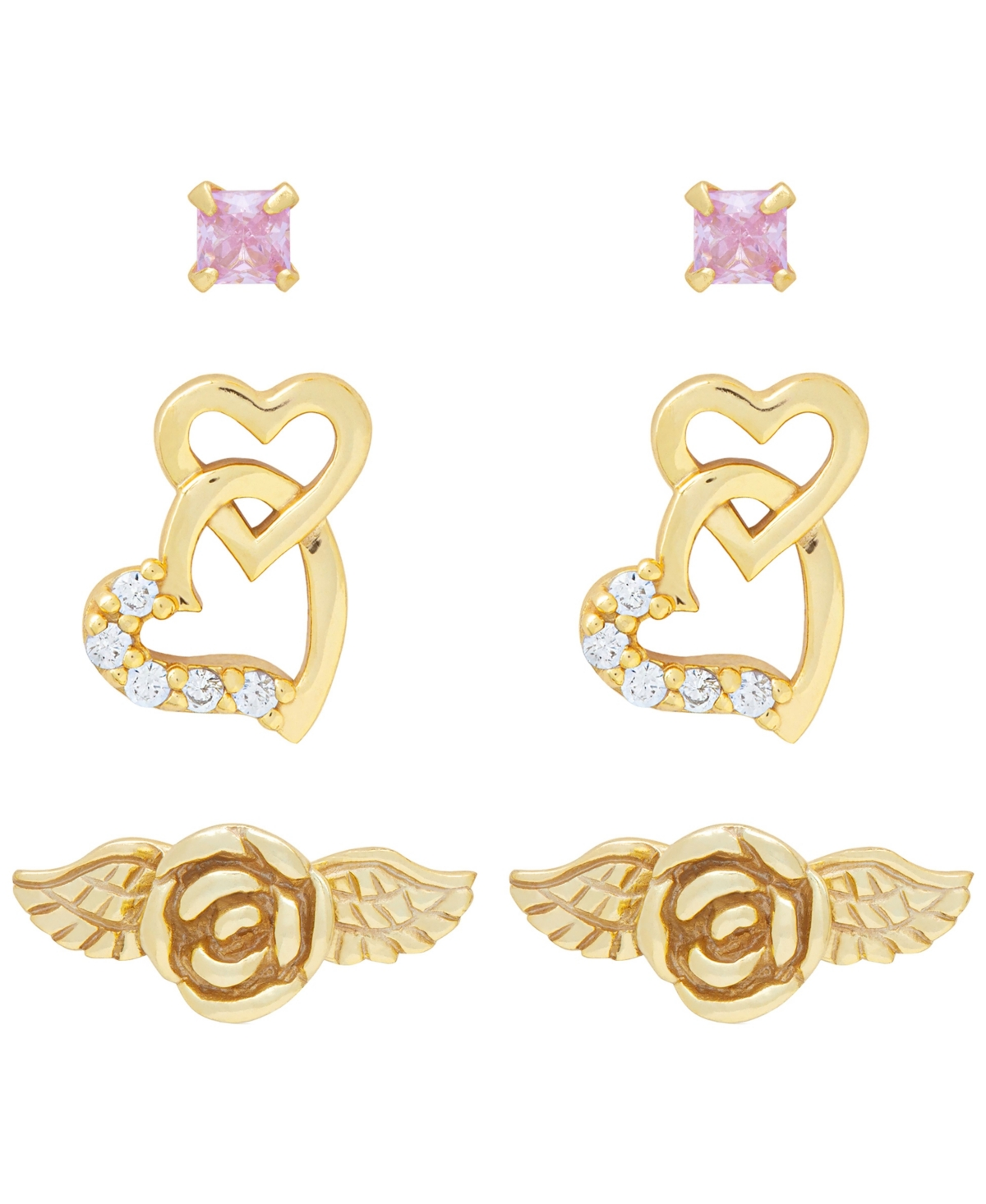 Link Up 3-Piece Set Flower, Pink Crystal and Hearts Stud Earrings in 18K Gold Over Sterling Silver