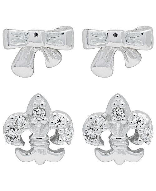 Link-Up Link Up 2-Piece Set Bow and Fleur-de-lis Sterling Silver Stud Earrings