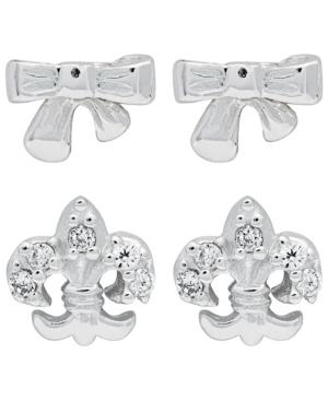2-Piece Set Bow and Fleur-de-lis Sterling Silver Stud Earrings