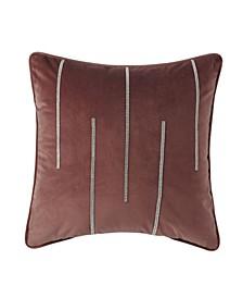 "Velvet Double Diamond Striped Accent Pillow 18'' x 18"""