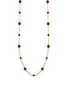 14K Gold-Dipped Red Beaded Necklace