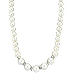 Imitation Pearl with Crystal Rondelles Necklace