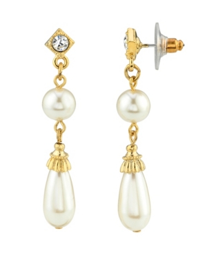 Simulated Imitation Pearl Crystal Accent Drop Earring
