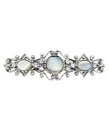 Crystal Mother of Imitation Pearl Ornate Barrette