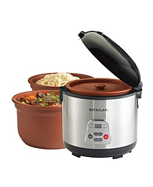 2 in 1 Clay Rice and Slow Cooker, 3.2 QT