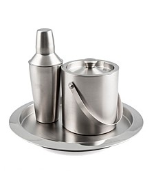 3 Piece Brushed Stainless Steel Bar Set