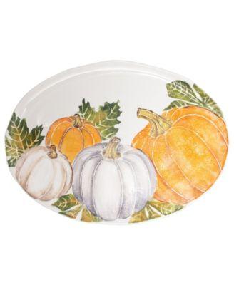 Pumpkins Large Oval Platter w/ Assorted Pumpkins