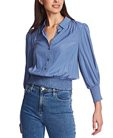 Smocked-Waist Collared Blouse