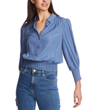 1.state Tops SMOCKED-WAIST COLLARED BLOUSE