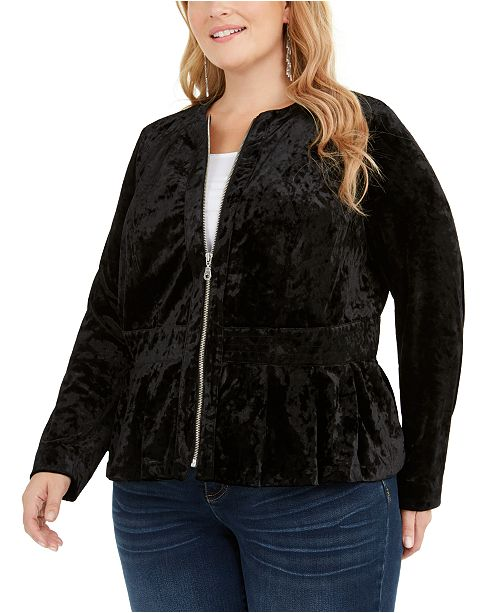 INC International Concepts INC Plus Size Velvet Peplum Jacket, Created For Macy's