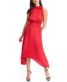 Pleated Asymmetrical Midi Dress