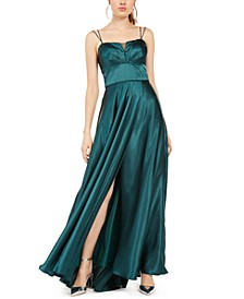 Juniors' Pleated Illusion Satin Gown