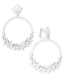 INC White-Tone Stone Clip-On Drop Hoop Earrings, Created For Macy's