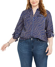 Plus Size Printed Zip-Front Top