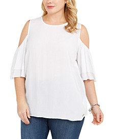 Plus Size Cold-Shoulder Flutter-Sleeve Top