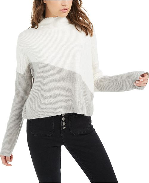 Planet Gold Juniors' Diagonal Colorblocked Sweater