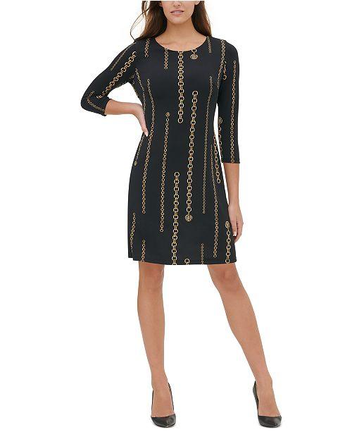 Tommy Hilfiger Petite Chain-Print A-Line Dress