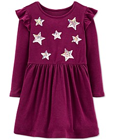 Toddler Girls Sequin-Stars Jersey Dress