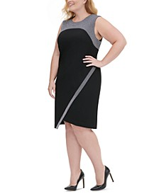 Plus Size Metallic-Trim Asymmetrical Sheath Dress