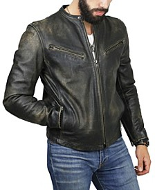 Men's Leather Cafe Racer Jacket