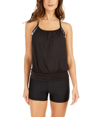 Logo Layered-Look Tankini Top