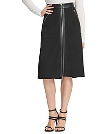Faux-Leather-Trim Skirt