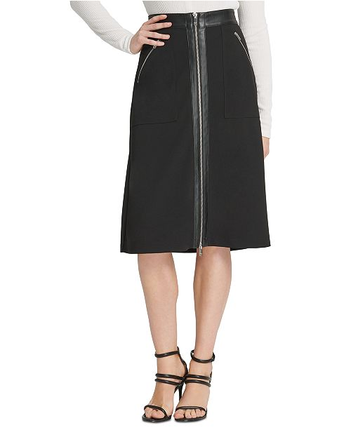DKNY Faux-Leather-Trim Skirt