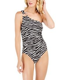 Zebra-Print One-Shoulder Underwire One-Piece Swimsuit