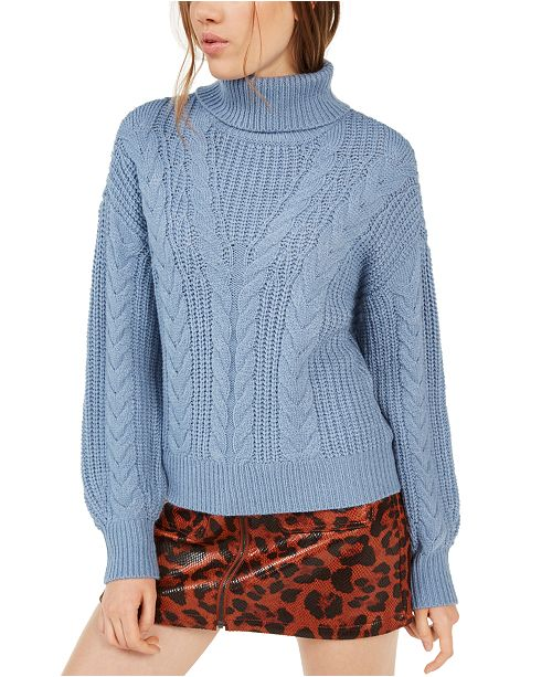 Crave Fame Juniors' Turtleneck Cable Knit Sweater