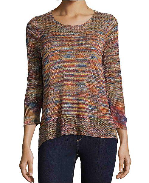 John Paul Richard Textured Knit Striped Sweater