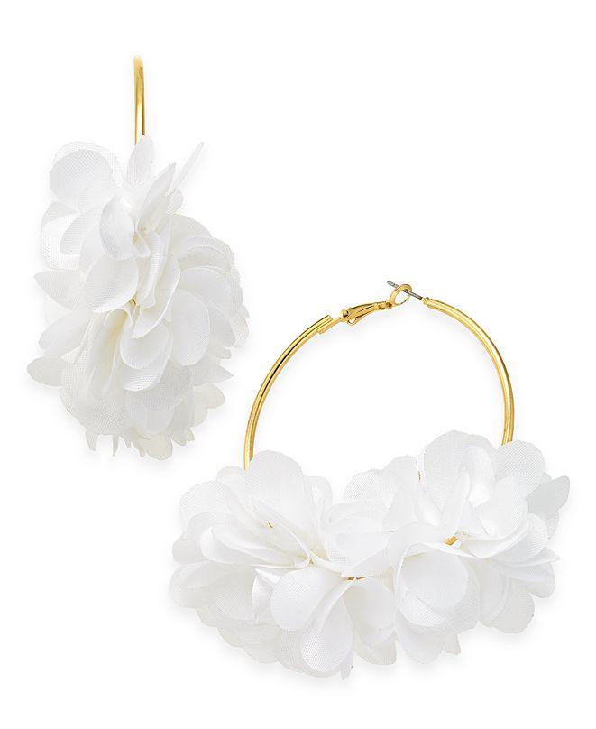 INC International Concepts INC Fabric Flower Hoop Earrings, Created for Macy's