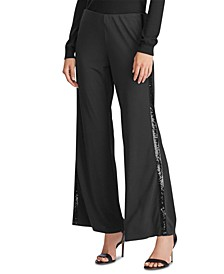 Sequined Tuxedo-Stripe Pants