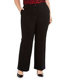 Plus Size Mid-Rise Flat-Front Pants