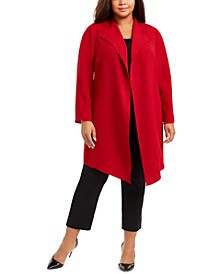 Plus Size Open Front Draped Jacket