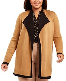 Plus Size Collared Cardigan