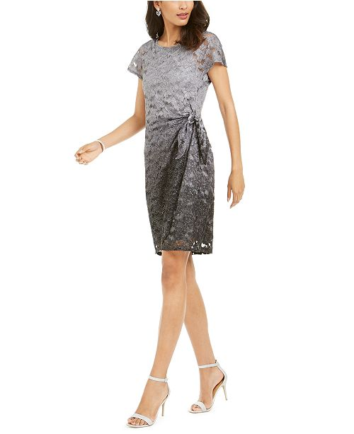 Robbie Bee Petite Sparkle Lace Overlay Dress