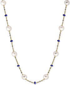 """EFFY® Cultured Freshwater Pearl (8mm) & Ruby (3-1/3 ct. t.w.) 18"""" Statement Necklace in 14k Gold (Also in Sapphire)"""