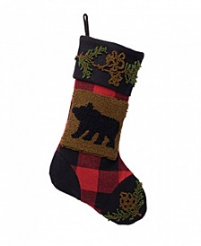 "10.24"" L Plaid Stocking with Rug Hooked Bear"
