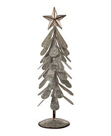 "18"" H Galvanized Metal Christmas Table Tree Decor"