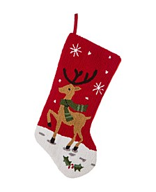 "19"" H Hooked Reindeer Stocking"
