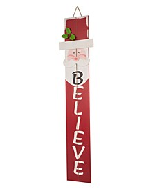 "42"" H Christmas Believe Wooden Santa Porch Sign"